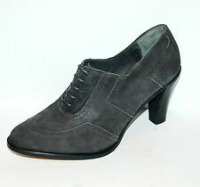 37½ eu - WOMAN OXFORD WINGTIP WITH PERFS - GREY VELUKID - LEATHER SOLE