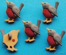 ROSSO Robin petto uccello Natale Inverno Giardino Novelty Dress IT UP Pulsanti Craft