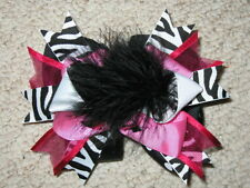 "NEW ""ROSY ZEBRA"" Fur Hairbow Alligator Clips Girls Ribbon Hair Bows 5.5 Inch"