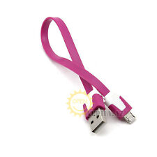 Hot Pink Flat Micro USB Sync Data Charger Cable f. Samsung Galaxy S4 S3 2 Note 2