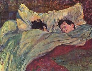 A3 Size Two Girls in Bed by Henri de Toulouse Lautrec Fine Art Poster Print NEW