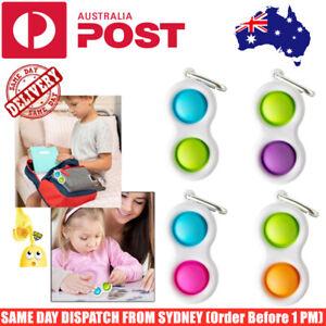 Simple Dimple Push Pop It Sensory Bubble Fidget Toy Key Chain Stress Relief Kids