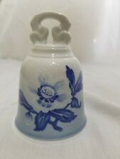 """The Danbury Mint Bing And Grondahl Denmark Blue Floral Hand Bell 4"""" Height"""