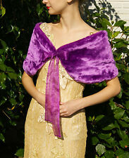 Stola Chal Fell Kunstfell Pelz Braut Hochzeit Bolero Jacke lila violet  satin
