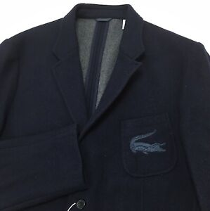 New Lacoste Men's Wool Blazer Suit Jacket Size 56 / XXL Croc Logo Navy Blue Coat