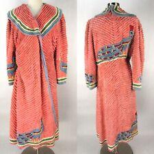 Vintage 40s Pink Chenille Housecoat Robe M/L Pastel PEACOCK Bird Wrap Stripes
