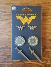 Wonder Woman Earring Set (Logo, Shield, Sword)