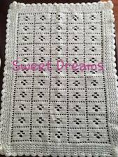 Handmade crocheted cream baby blanket suitable for pram, pushchair or car