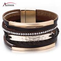 Retro Women Multilayer Leather Rhinestone Beads Wrap Chain Bracelet Jewelry Gift
