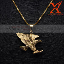 Men's 18K Gold Plated Stainless Steel Eagle Pendant Necklace Box Chain 3Mm 30""