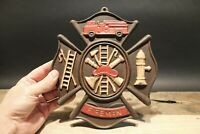 Antique Vintage Style Cast Iron Fire Fighter Plaque Fire Mark Sign