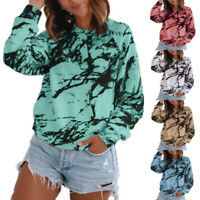 Womens Tee Ladies Pullover T Shirt Blouse Baggy Tie Dye Long Sleeve Loose Tops