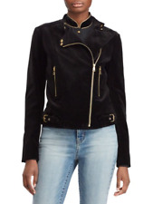 Lauren Ralph Lauren Velvet  Moto  zip Jacket Polo Black NEW with tag 16