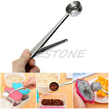 Silver Stainless Steel Ground Coffee Measuring Scoop Spoon With Bag Seal Clip