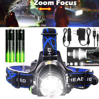 Zoom 90000LM T6 LED Headlamp Headlight Flashlight Head Torch 18650 Camp Light