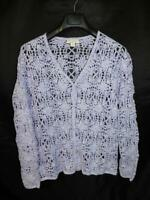 Appleseeds M Purple Floral Cardigan Sweater White Marl Knit V Neck Button md