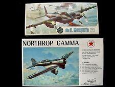 "Airfix de Havilland Mosquito1/72 Scale & Northrop Gamma ""Sky Chief"" Models MIB"