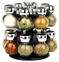 schwarz modern Gewürzregal Ständer Glas rotierende drehbar Kräuter Küche Chrom