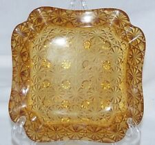 "Vintage Daisy & Button Amber Square Cutout Corners Heavy Ashtray 5.75"" Fenton"