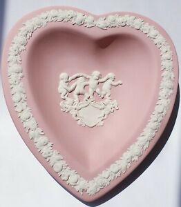 WEDGWOOD PINK HEART SHAPED TRINKET OR PIN DISH JASPERWARE