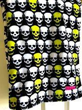 BETSEY JOHNSON Ultra Plush Skelator Skull Black, White, Lime Green Throw Blanket