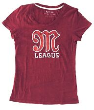 Miss Me Womens Size L Red M League Tee Pullover Cap Sleeves Crewneck Stretch