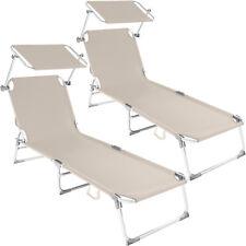 Aluminio Tumbona Plegable para Ocio y Jardín Playa Hamaca con Toldo Beige