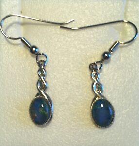 Australian Opal-Earrings- Silver Plated-Triplet Opal 2.5cm Drop- Good Value Gift