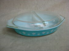 Vtg Turquoise Snowflake Pattern Pyrex Lidded Divided Casserole Dish