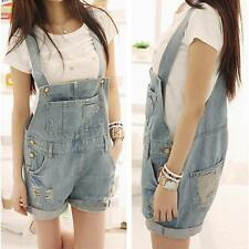 0fe50589ce39 New Womens Washed Jeans Denim Hole Jumpsuit Overalls Suspender Romper Shorts