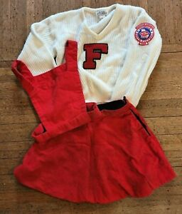 Vintage 1986 Girls Cheerleader Patch Sweater, reversible Skirt & Vest