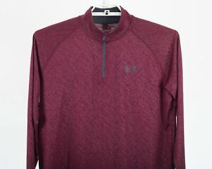 Under Armour UA Heatgear1/4 Zip Burgundy Long Sleeve Pullover Men's Shirt Size M