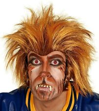Adult Mens Crazy Werewolf Halloween Wolf Orange Fancy Dress Costume Outfit Wig