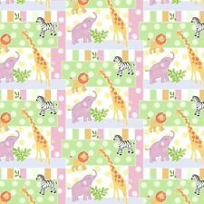 Safari Animals Lion Elephant Baby Patch premium 100% Cotton fabric by the yard