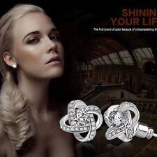 Elegant Women 925 Silver Plated Ear Stud Zircon Crystal Rhinestone Shiny Earring