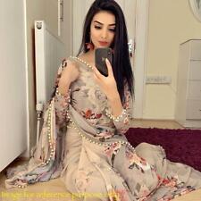 Indian Designer Saree Sari Party Wear fancy Floral Saree with Moti Lace Work SS