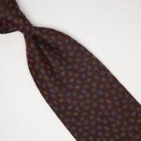 VTG Giorgio Armani Mens Silk Necktie Burgundy Gray Blue Gold Check Weave Tie