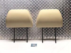 08-14 SUBARU TRIBECA FRONT SEAT HEADRESTS HEAD REST SET RIGHT LEFT TAN LEATHER