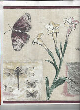 WALLPAPER BORDER FLOWERS BUTTERFLY DRAGONFLY NEW ARRIVAL FLORAL