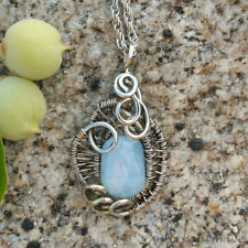 Natural Aquamarine Crystal German Silver Pendant Wire Wrapped Unique Jewelry