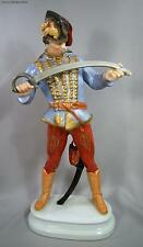 Large Herend Porcelain 16 Inch Tall Herend Hudik Huszar Figure