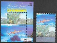 Indonesia 2008 Mi.No. 3099 - 3102 Block 30 Indonesien Plants Fishes 2v +1 MNH**