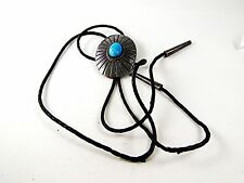 Vintage Mexican Taxco Sterling Silver Turquoise Bolo Leather Cord 102016