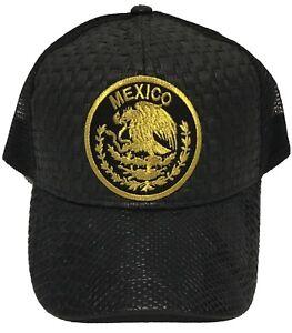 MEXICO LOGO FEDERAL HAT GORRA DE PALMA VISERA DE PIEL BLACK MESH TRUCKER