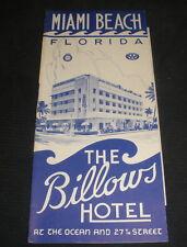 Billows Hotel Brochure Miami Beach Florida 1948/49 + rates/reservation insert