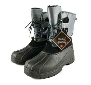 Snowtech Mens Winter Boots Size 11 Grey Water Wind Snow Weatherproof
