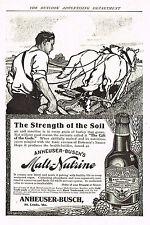 Original 1909 Malt Nutrine Magazine Ad Barley Farmer Strength of Soil 7x10 in