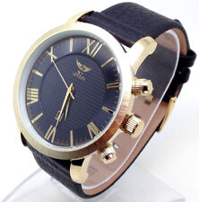 691B Men's Latest Fashion Wrist Watch Black New Leather Band Gold Case Big Dial