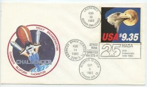 1983 , $9.35 USPS SPACE MAIL, ORBITED VIA STS-8