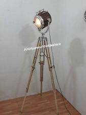 RETRO NAUTICAL WOODEN SPOT LIGHT FLOOR LAMP TEAK TRIPOD STAND HOME DECOR